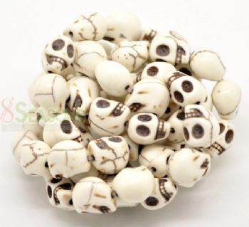 20 Turquoise (Howlite) Skull Head Beads  WHITE